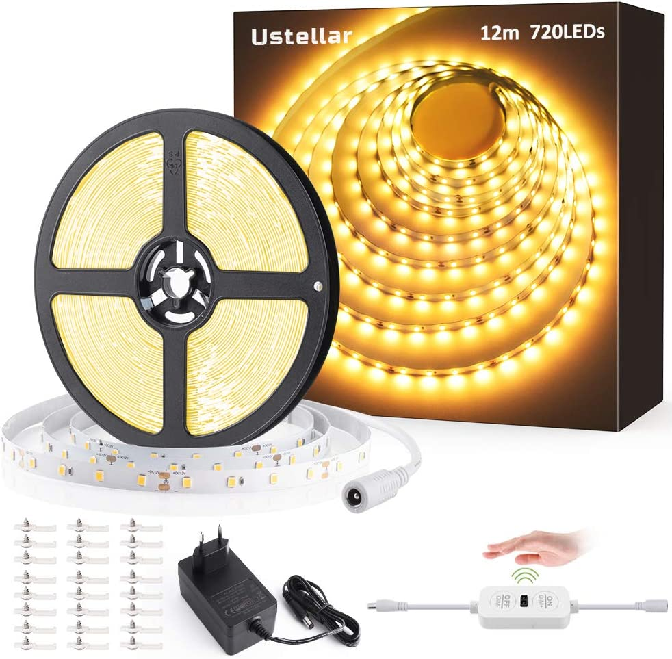 12M Tiras LED Regulables 24V, Ustellar 720 LEDs Clips 3600lm, Tira LED Luz Blanco Calido 3000K, LED Mano Sensor Movimiento Enchufe, Decoración Iluminación Ambiental para Gabinete, Armario