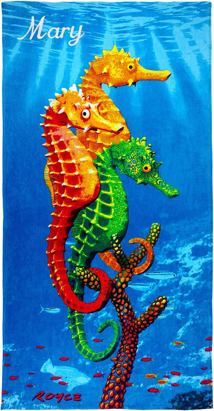 Kaufman -Personalized Kids Seahorses Beach and Pool Towel