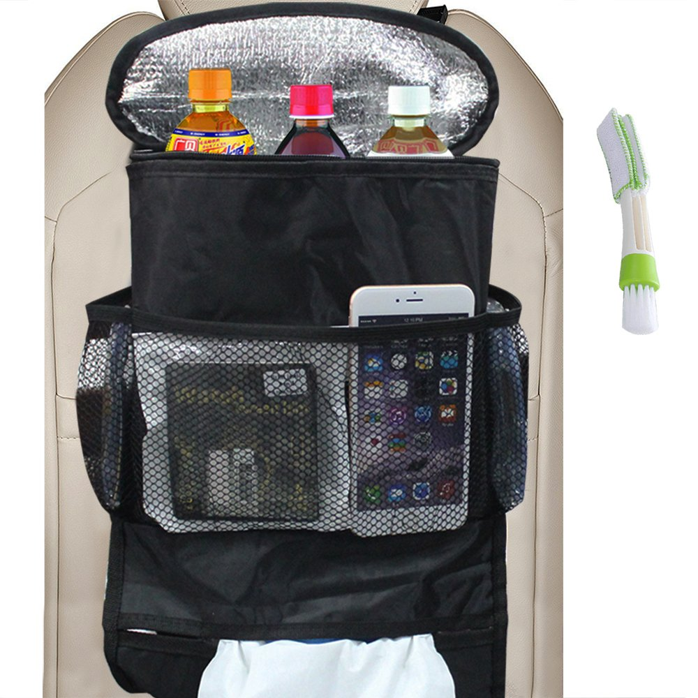 Universal Car Seat Back Organizer with Automotive Air Conditioner Cleaner, FineGood Large Capacity Multi-Pocket Travel Storage for Trips Snack Drinks Tissue CD Magazine Trash (Heat-Preservation) FG-car_storage_bag
