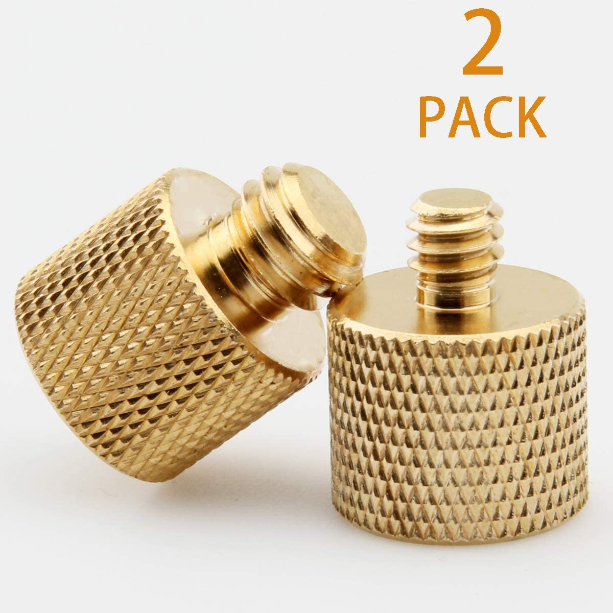 "XINJUE 2 Pieces,(Brass) Camera Microphone Stand Accessories Adapter, 1 Piece 1/4""-20 Internal Thread to 3/8"" -16 External Thread: 1 Piece 3/8""-16 Internal Thread to 1/4-20 External Thread"