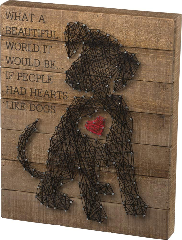 Primitives By Kathy String Art Box Sign Puppy Heart