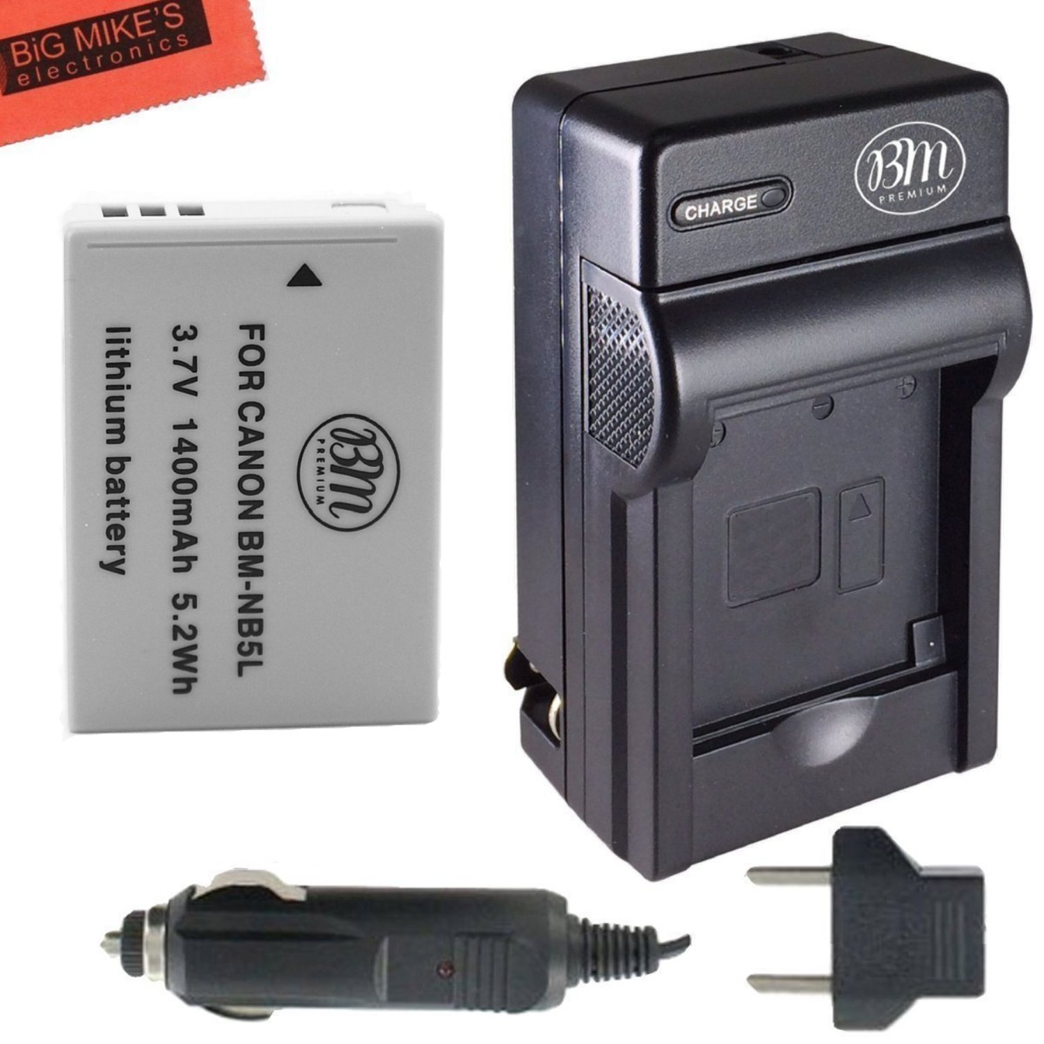 NB-5L Battery & Charger Kit Canon PowerShot S100 S110 SX200 HS SX210 HS SX230 HS Digital Camera Includes NB-5L Replacement Battery + AC/DC Battery Charger + LCD Screen Protectors + Micro Fiber Cleaning Cloth Big Mike' s NB5L