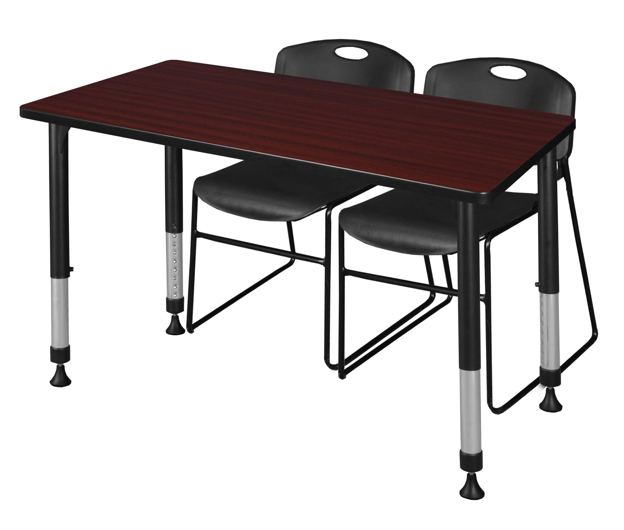 Regency MT4830MHAPBK44BK Kee Height Adjustable Classroom Table Set with Two Zeng Chairs 48'' x 30'' Mahogany/Black