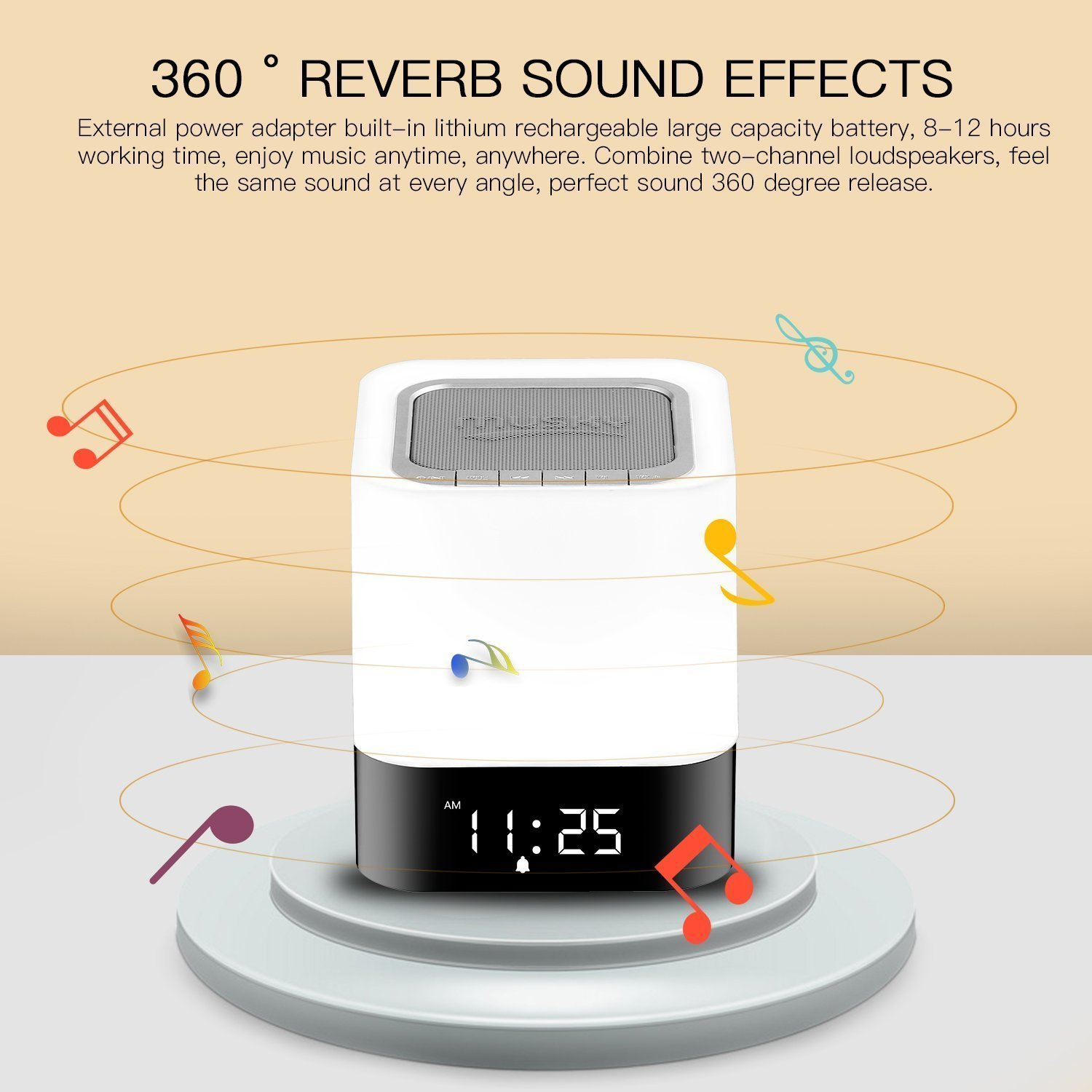 Bluetooth Speaker Alarm Clock, LED Touch Sensor Bluetooth Color Changing Speaker Atmosphere Control Lamp Dimmable Warm White Light & Color Changing RGB, TF Card, AUX Supported, Hands-free Speakerphone