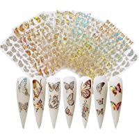 Yuffoo 8 vellen Vlinder Nail Stickers, 3D Vlinder Nail Art Stickers Decals, Nail Art Water Transfer Sticker…