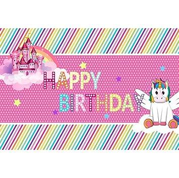 OERJU 2,7x1,8m Cumpleaños Fondo Feliz cumpleaños Unicornio ...