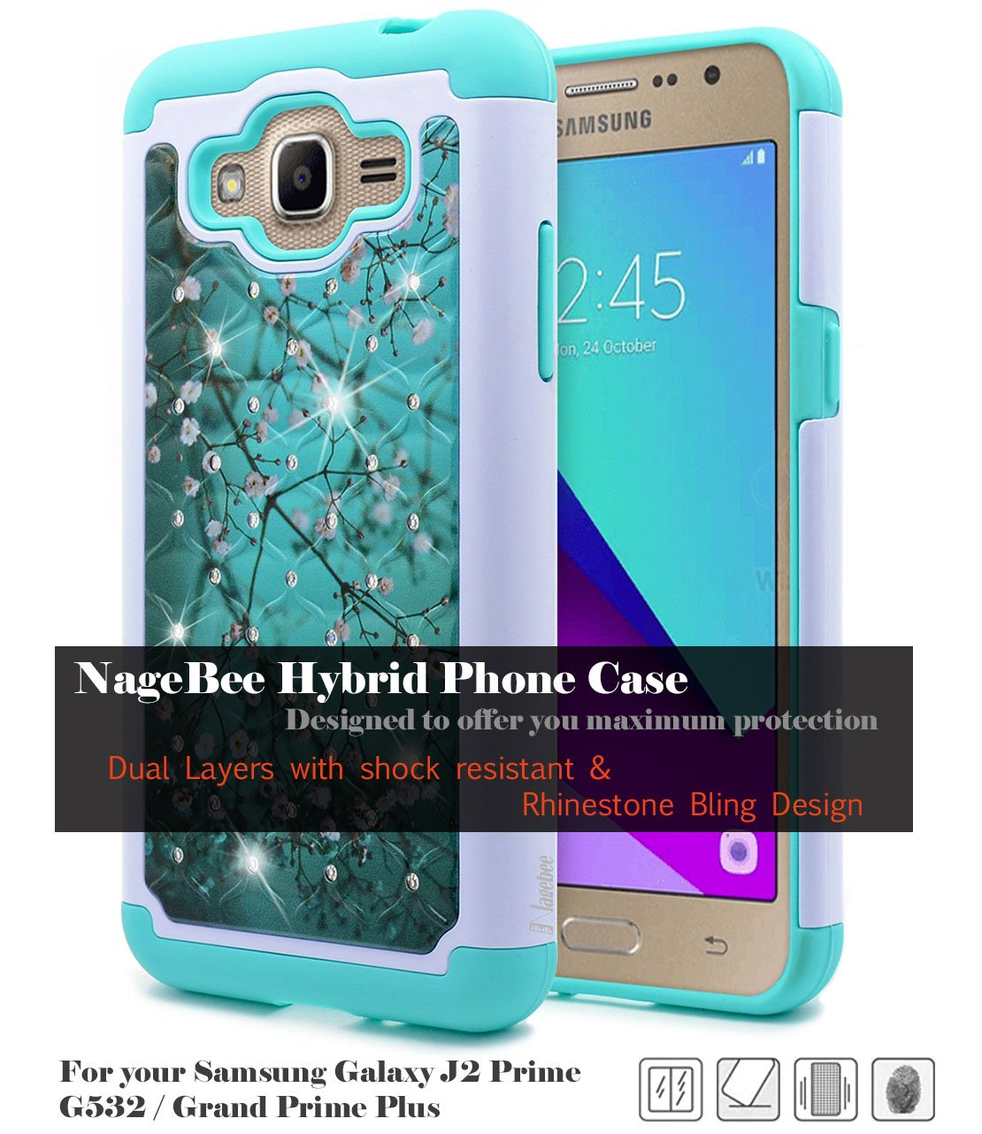 Galaxy J2 Prime Case Nagebee Hybrid Protective Armor Samsung G532 8gb Soft Silicone Cover With Studded Rhinestone Bling Design Hard For