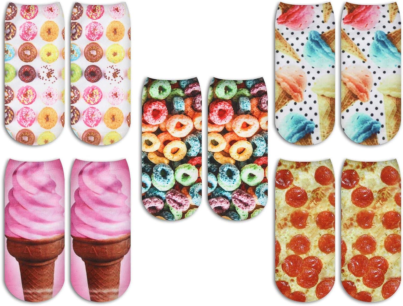 Zmart Women's Girl Cat Food Unicorn Ankle Socks Funny 3D Print Low Cut Socks