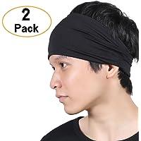 QINGLONGLIN Headbands for Men and Women - No Slip Sweat Wicking Turban Elastic Fashion Multi Style Head Wrap Hair Band for Yoga Running Tennis Sports & Premium Quality