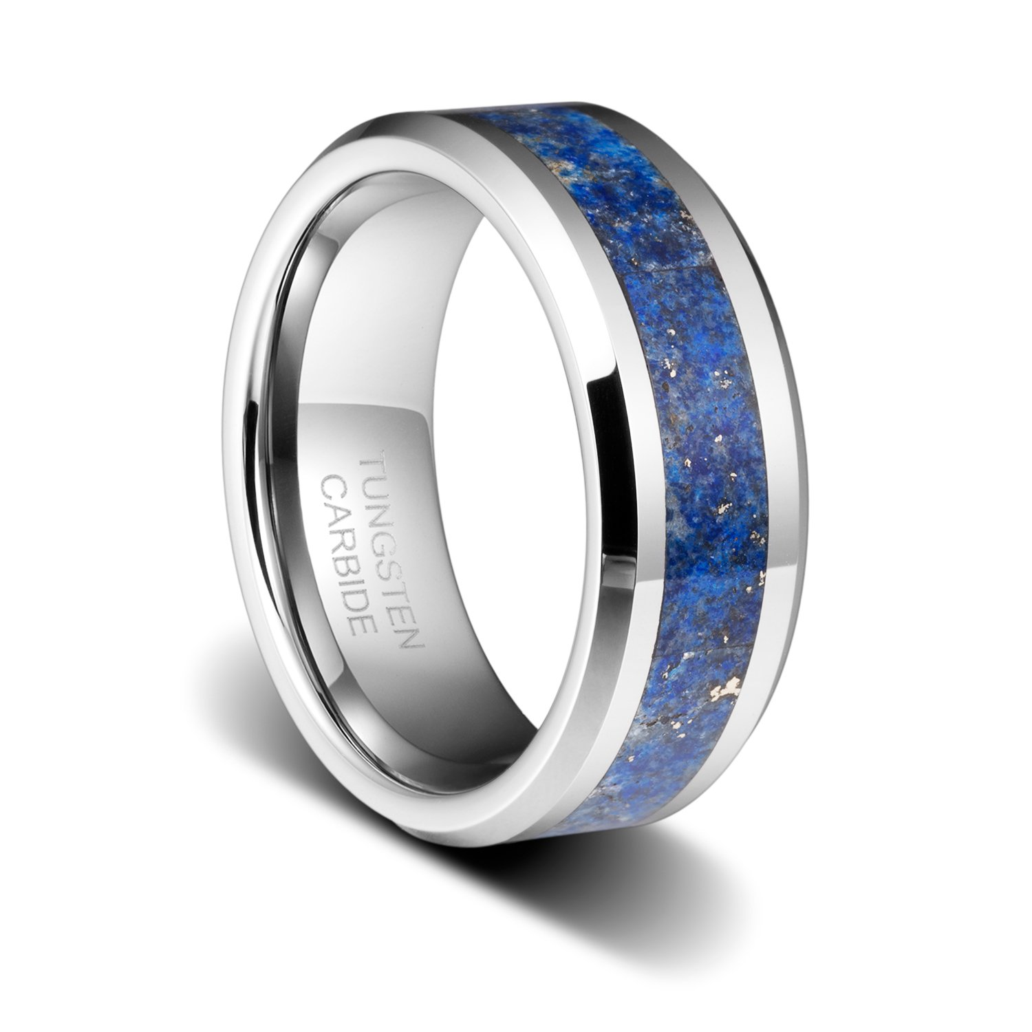 TUSEN JEWELRY 8mm Men's Birthstone Polished Wedding Band with Blue Lapis Inlay&Beveled Edges Tungsten Ring