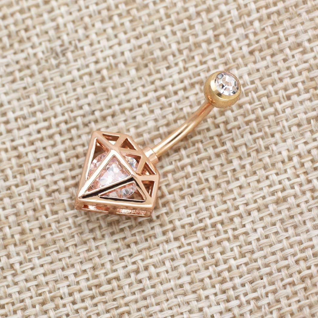 ExceproExcepro Belly Rings Rose Gold Plated 316L Surgical Stainless Steel Tower Gem Body Jewelry Belly Piercing