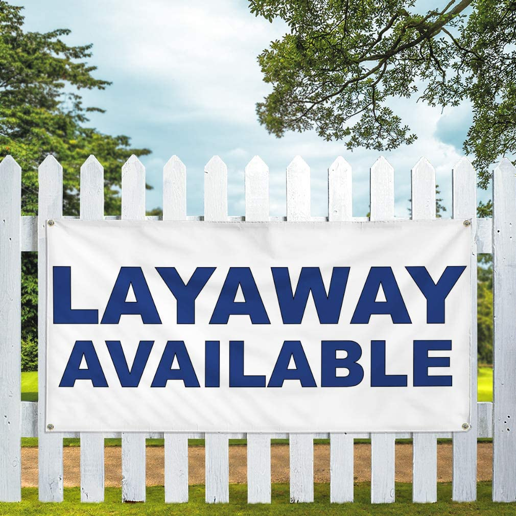 Vinyl Banner Multiple Sizes Layaway Available Blue Business Outdoor Weatherproof Industrial Yard Signs 8 Grommets 48x96Inches