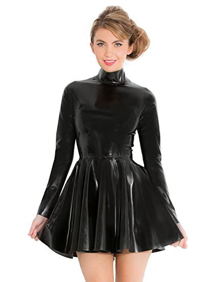0684397e1a Honour Women s Skater Mini Dress in Black Rubber Latex with High Neck   Amazon.co.uk  Clothing