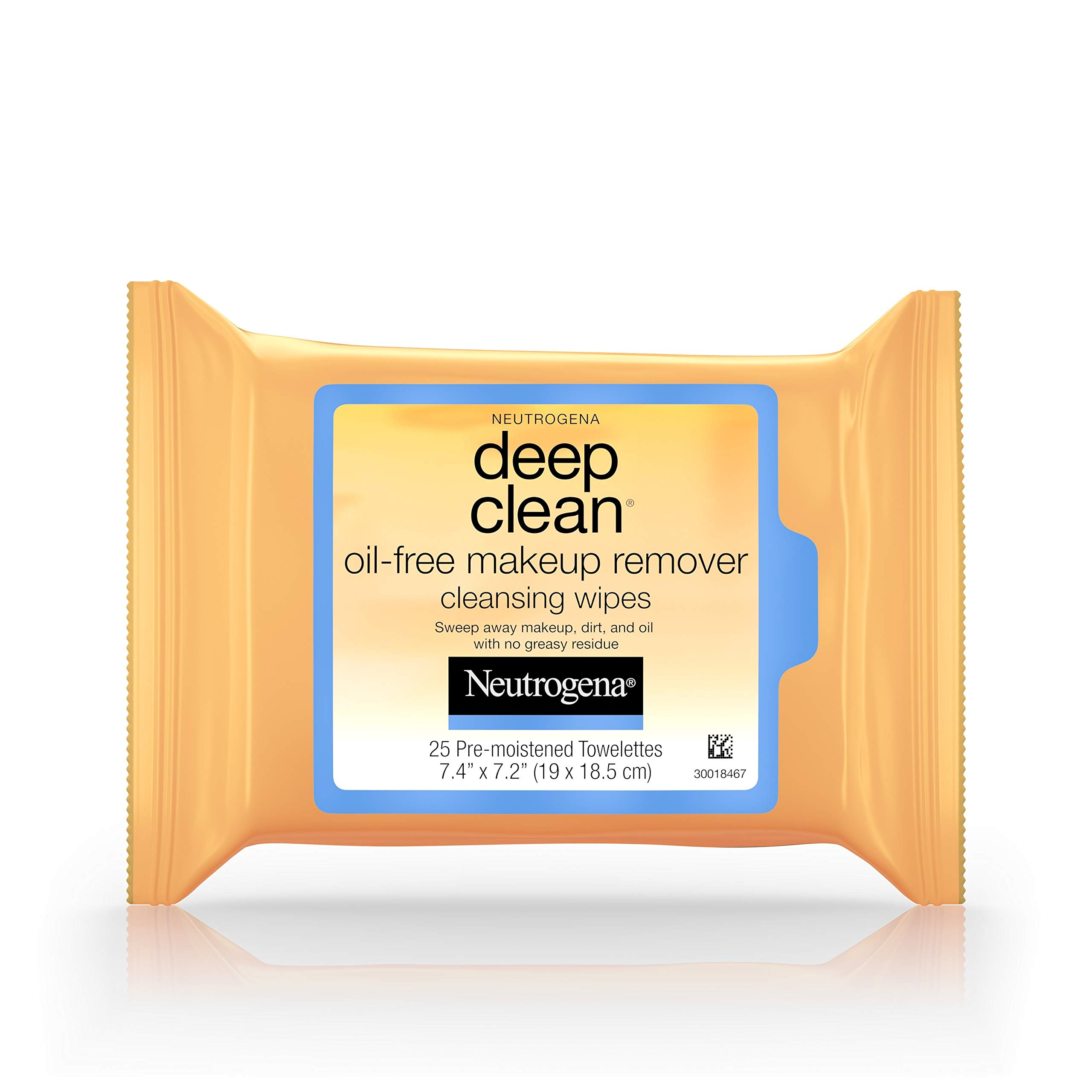 Neutrogena Deep Clean Oil-Free Makeup Remover Cleansing Face Wipes, Daily Cleansing Towelettes to Remove Dirt, Oil, and Makeup, 25 ct (Pack of 6)