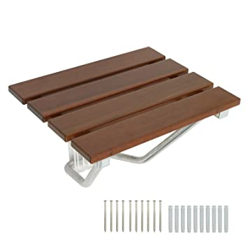 Amazon.com: Wall Mounted Folding Teak Shower Transfer Bench Seat ...