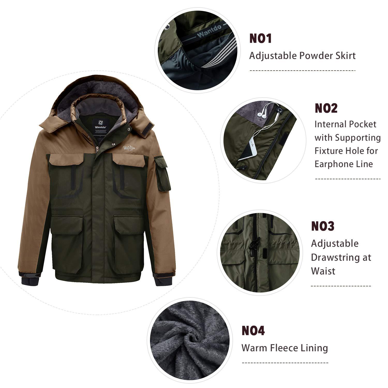 9352741a6a96 Amazon.com  Wantdo Men s Warm Ski Jacket Hooded Mountain Waterproof Winter Coat  Windproof Raincoat Outdoors Parka  Clothing