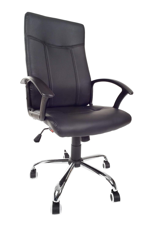 VECOTTI Ergonomischer Bürostuhl, Schreibtischstuhl, höhenverstellbarer Drehstuhl, Chefsessel gepolstert mit Armlehnen, Robuste Ausführung, hohe Rückenlehne (Schwarz)