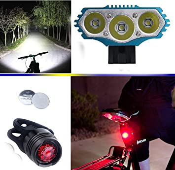 LED Luz de la Bicicleta Bici Linterna LáMPARA Torch Frontal Cabeza ...
