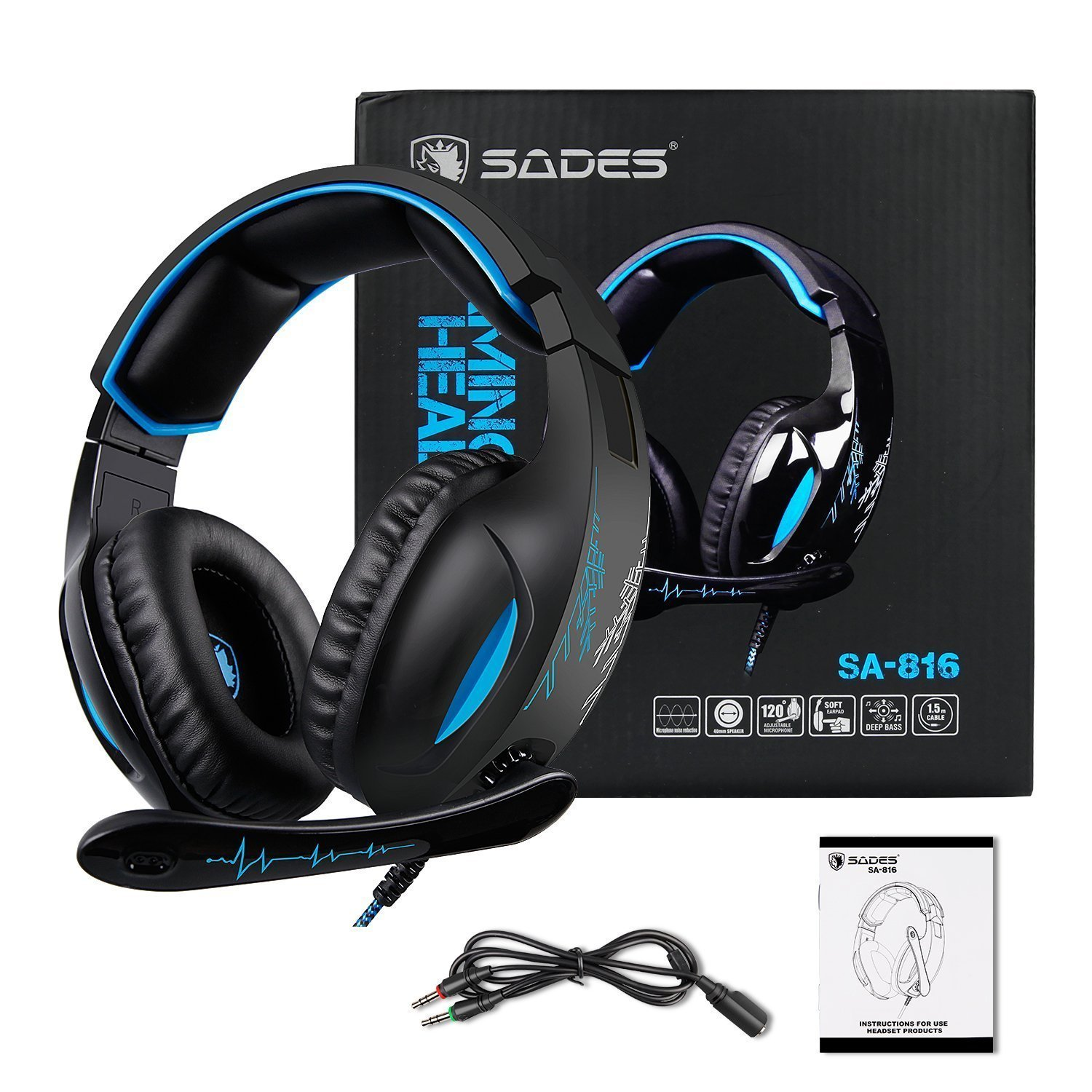 SADES SA816S Stereo Gaming Headset with Mic, Noise Cancelling Over Ear Headphones, Bass Surround, Soft Memory Earmuffs for PS4, PC, Xbox One Controller, Laptop Mac Nintendo Switch Games Phones