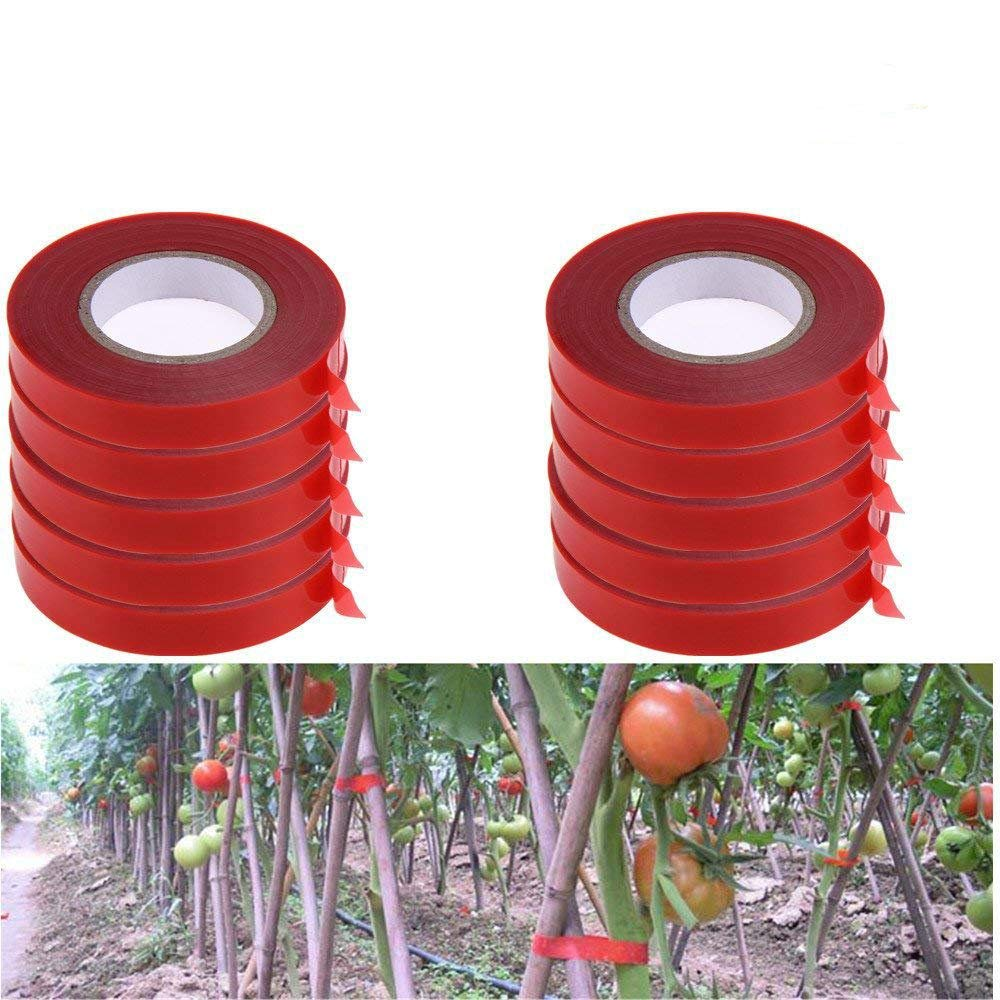 YeBon 10Pcs/Set PE Plant Branch Hand Tying Binding Machine Flower Vegetable Garden Tapetool Tapener(Red Binding Tape)