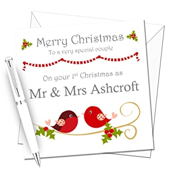 Personalised Handmade Mr /& Mrs /& Mrs 1st First Christmas Card as Newlyweds