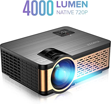 XIAOYA W5 Native 720P Mini Movie Projector with HiFi Speaker, 4000 Lumen Video Projector Support 1080P Display for Home Theater Entertainment, ...