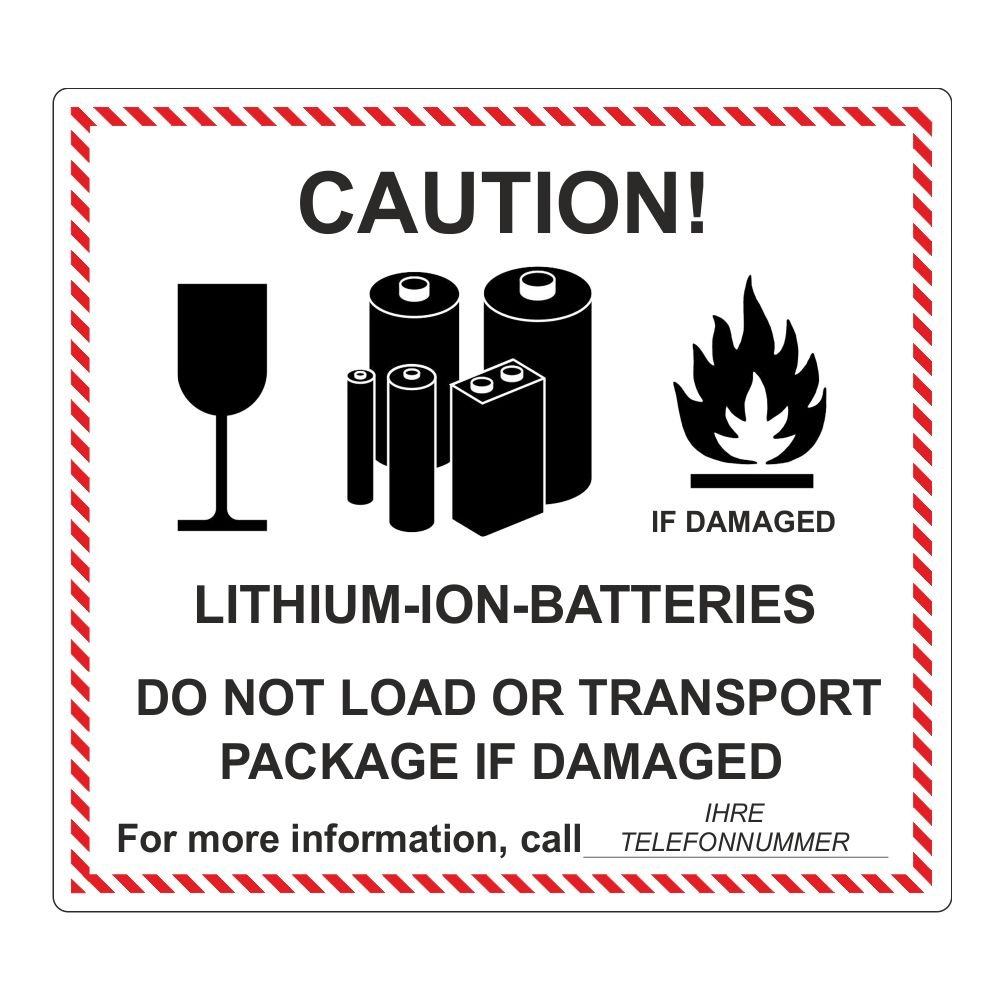 'CAUTION! LITHIUM-ION-BATTERIES' inkl. Telefonnummer - 120 x 110 mm - 500 Stück