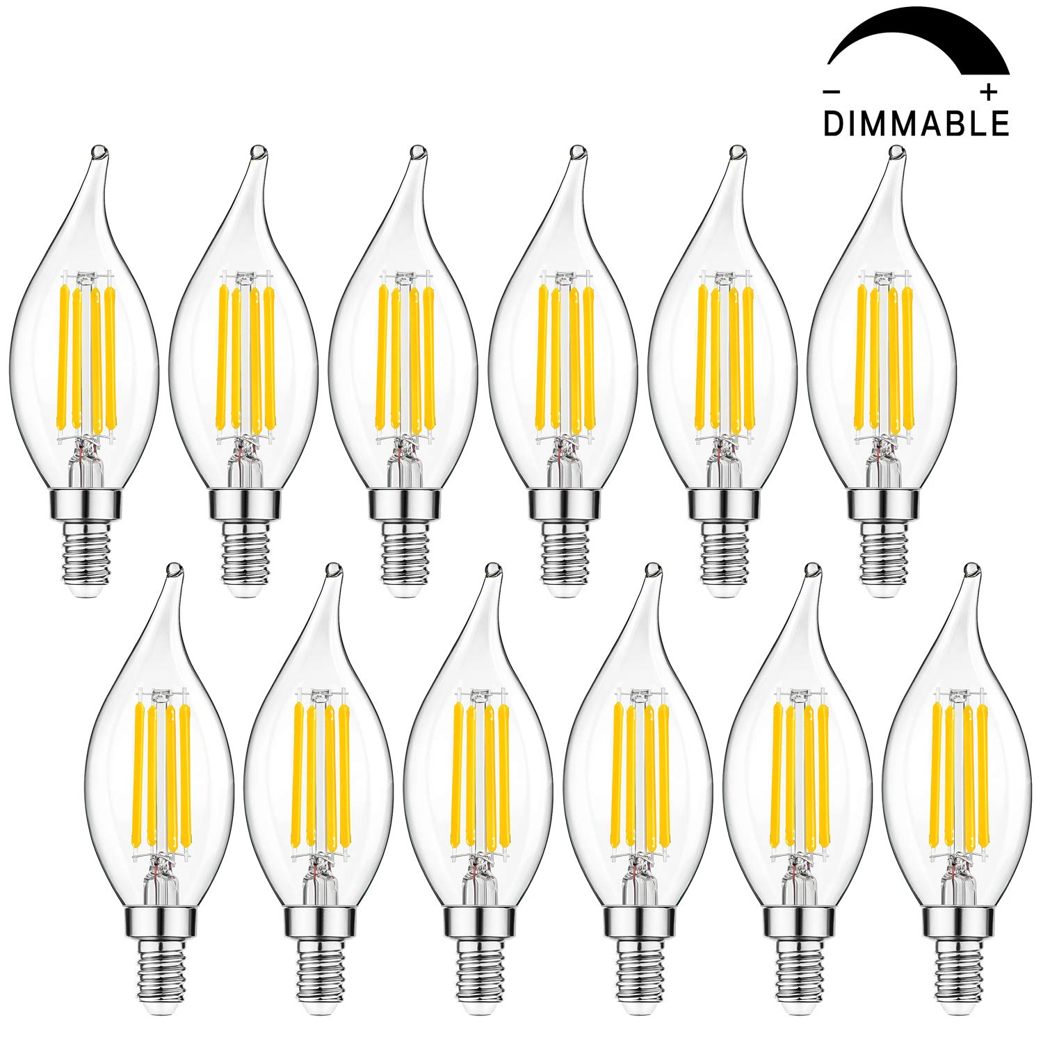 Dimmable E12 Candelabra LED Bulbs 40W Equivalent, 2700K Warm White, 4W Filament LED Chandelier Light Bulbs, CA11 Vintage Edison Clear Candle Bulbs, 25000+ Hours Lifespan, No Flicker, Pack of 12