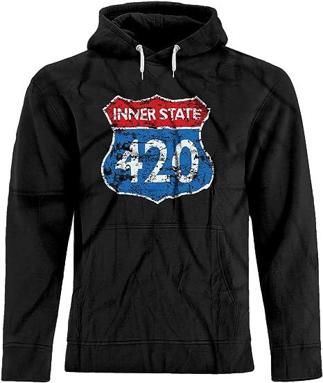 BSW Unisex Interstate 420 Vintage Highway Sign Weed Marijuana Premium Hoodie 3XL Black