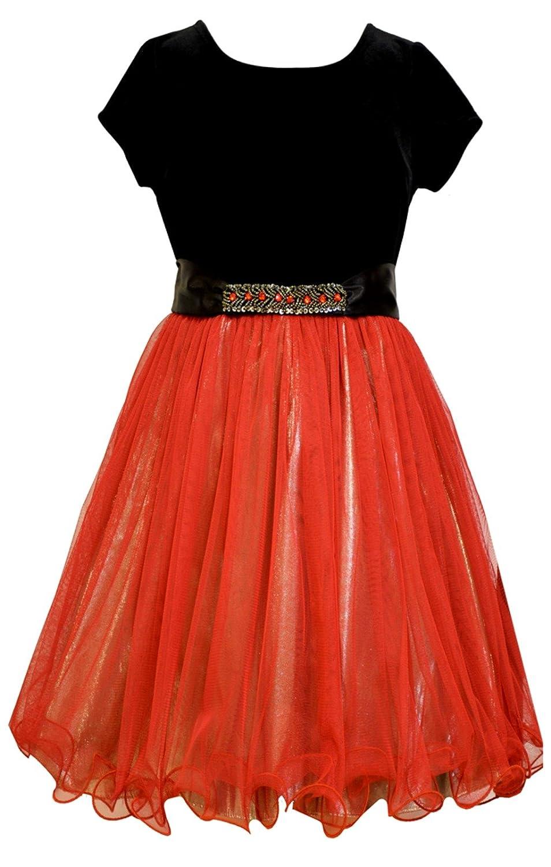Bonnie Jean Big Girls Red Mesh Gold Lame Dress
