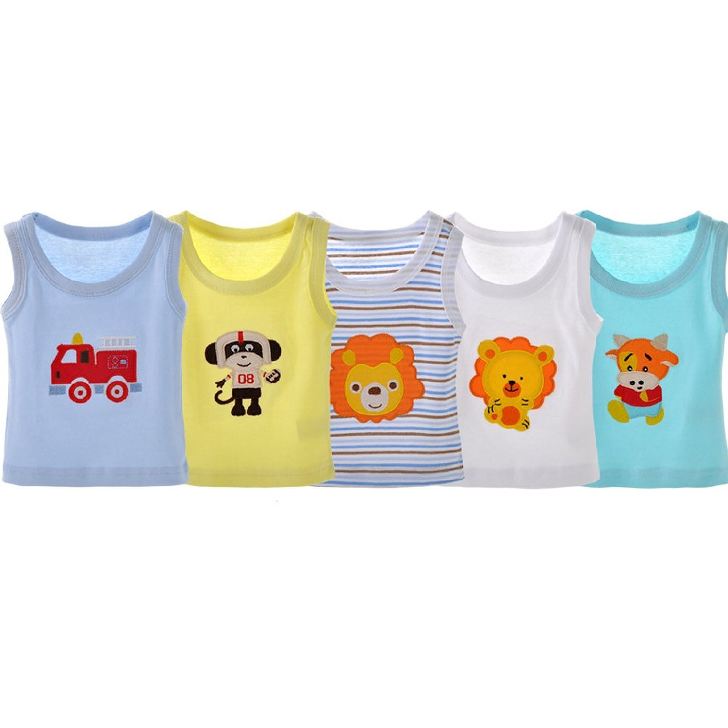 Yanzi6 Baby Boys Girls' 100 % Cotton 5 Pack Cartoon Sleeveless Tank Tops