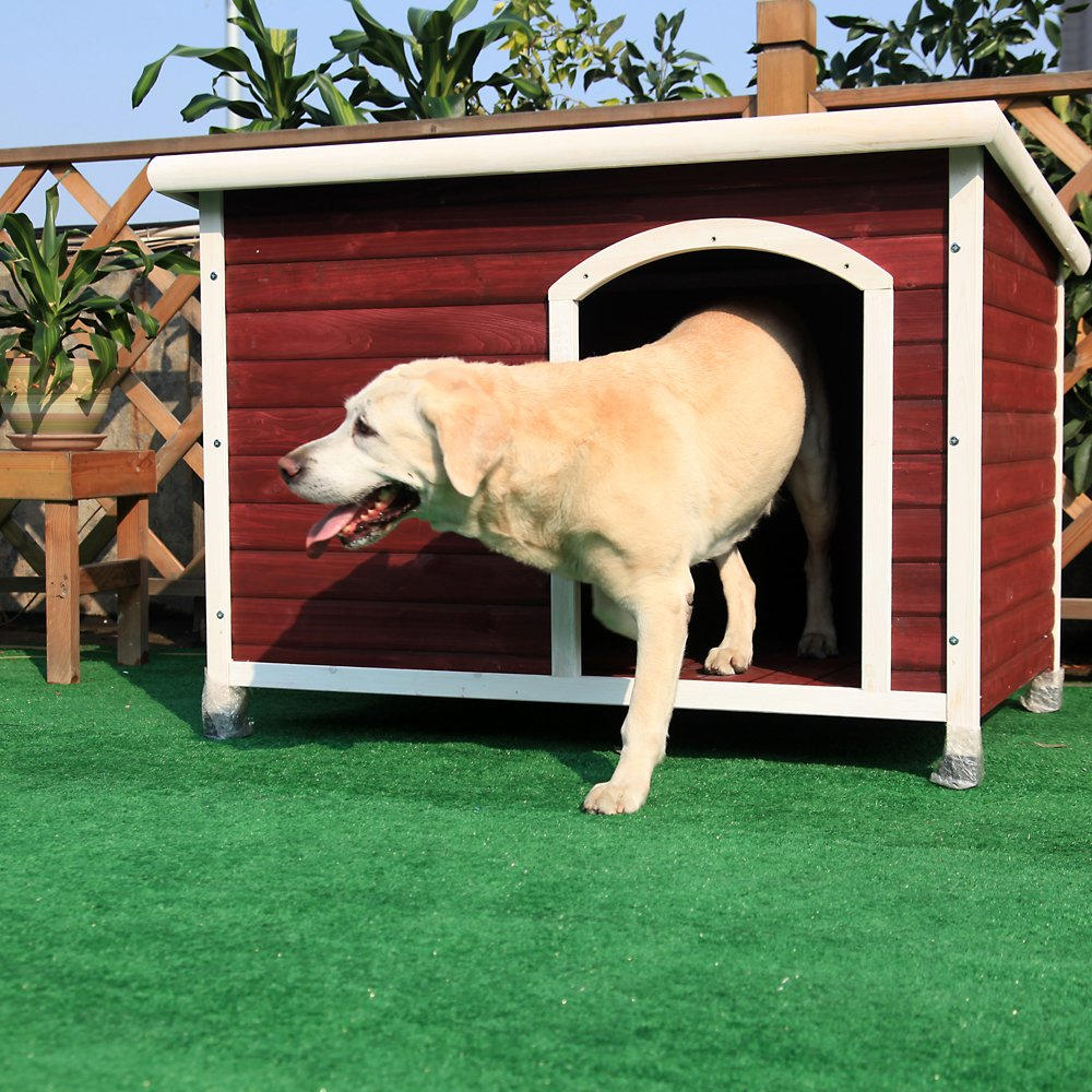 Petsfit Solid Wood Outdoor Dog House for Large Dogsup to 80 lb, 1-Year Warranty by Petsfit