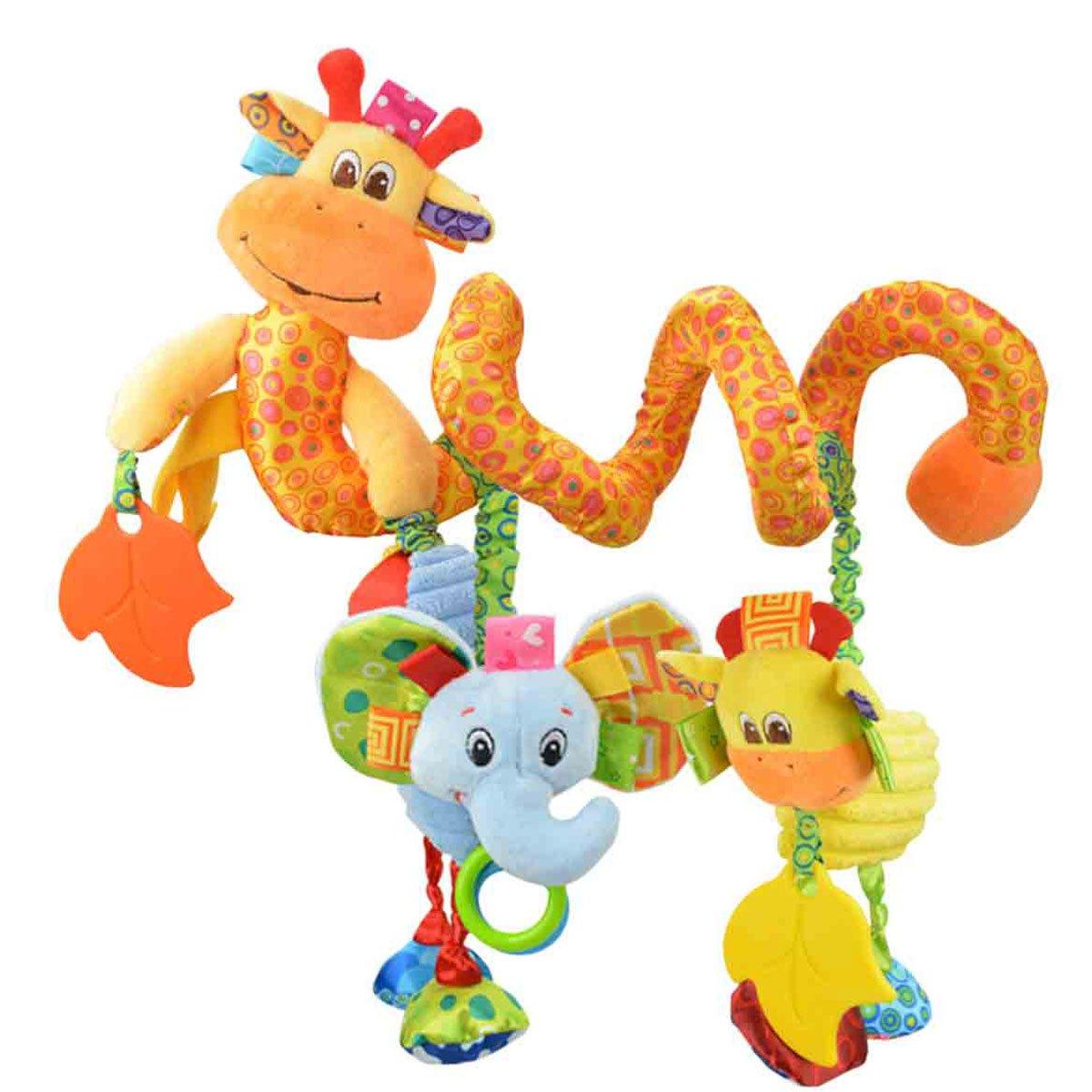 Hochet Spiral Peluche Jouet d'éveil pour Berceau Poussette - Jouet éducatif Animal Girafe Happy Cherry