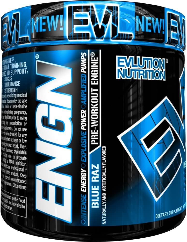 Evlution Nutrition ENGN Pre-Workout, Pikatropin-Free, 30 Servings, Intense Pre-Workout Powder for Increased Energy, Power, and Focus Blue Raz