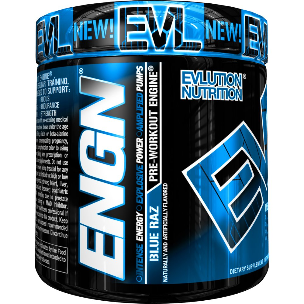 Evlution Nutrition ENGN Pre-Workout, Pikatropin-Free, 30 Servings, Intense Pre-Workout Powder for Increased Energy, Power, and Focus (Blue Raz) by Evlution