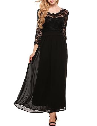 Women s Floral Lace 3 4 Sleeves Long Formal Evening Dress Maxi Dress Black S 953d2006b43a