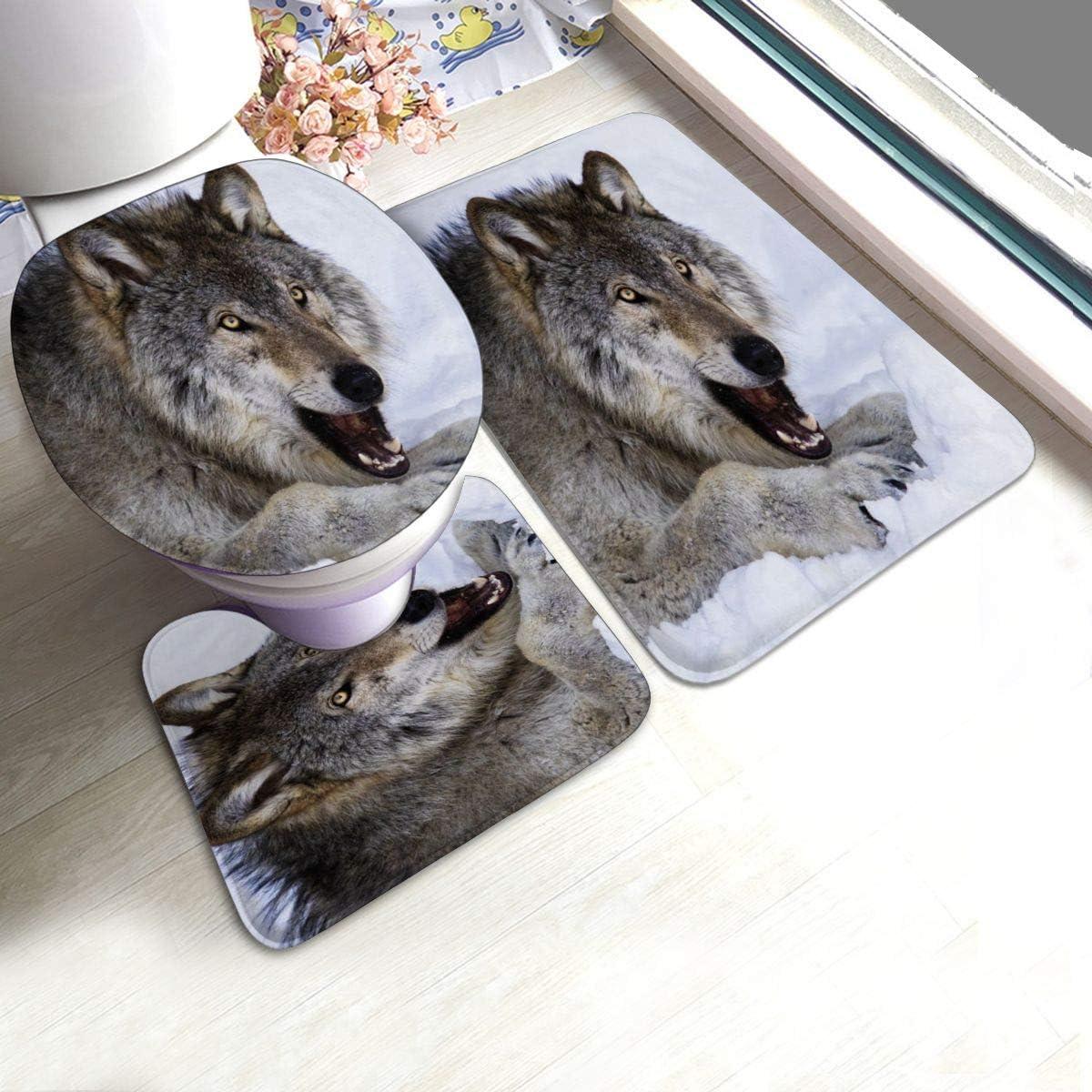 RedBeans - Juego de 3 alfombrillas de baño antideslizantes de franela para baño, diseño de lobo de madera alfa, color lobo