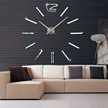 Fesselnd Neu Design Wand Uhr Wohnzimmer Wanduhr Spiegel Edelstahl Wandtattoo Deko  XXl 3D Handarbeit DIY Geräuschfrei Silber