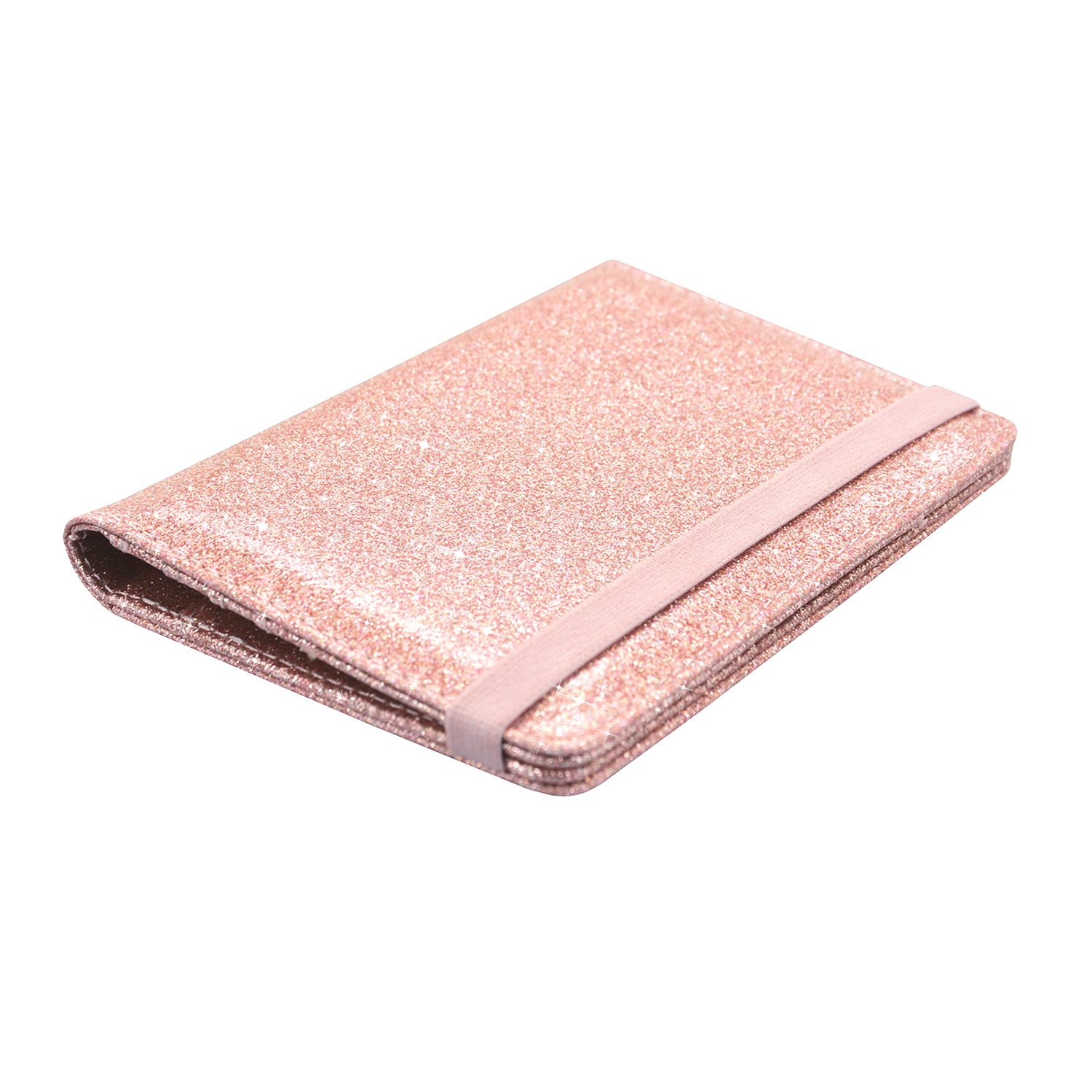 Passport Holder Cover, ACdream Travel Leather RFID Blocking Case Wallet for Passport with Elastic Band Closure, Rose Gold Glitter by ACdream (Image #8)