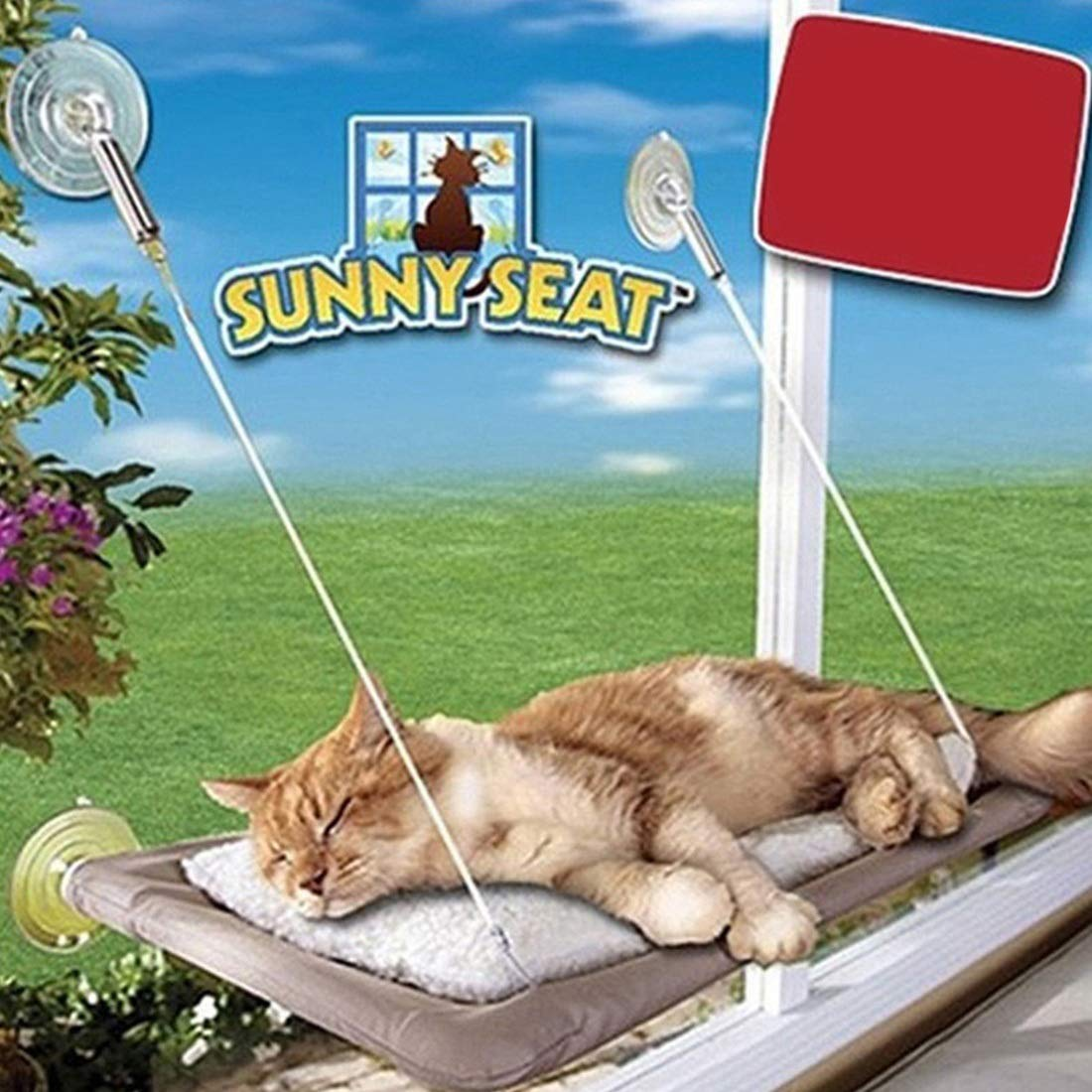 As picture RABILTY Cat Hammock Pet Litter Pet Hammock Cats with A Suction Cup Mat Can Unpick and Wash Windows Strong Attraction of The Four Seasons Use Wire Rope (color