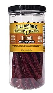 Tillamook Country Smoker Real Hardwood Smoked Teriyaki Sticks Resealable Tall Jar, 20 Count, 15.2 oz