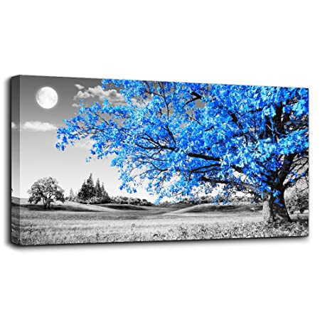 MHART66 Wall Art Living Room Simple Life Blue Moon Tree Landscape Abstract Painting Office Wall Decor 24 x 48 Single Pieces Canvas Prints Ready to Hang Home Decoration Black White Works Art