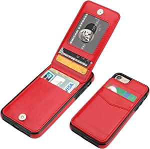 KIHUWEY iPhone 7 iPhone 8 iPhone SE 2020 Case Wallet with Credit Card Holder, Premium Leather Magnetic Clasp Kickstand Heavy Duty Protective Cover for iPhone 7/8/SE 4.7 Inch (Red)