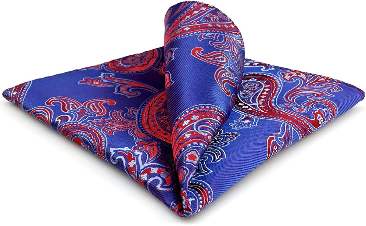 S&W SHLAX&WING Mens Pocket Square Blue Red Paisley Large 12.6