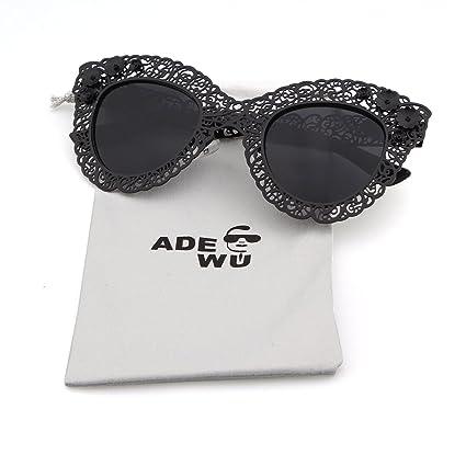 430f1a9e6f4c Guoxuan Women s Pierced Carving Lace Metal Flower Cateye Sunglasses Black