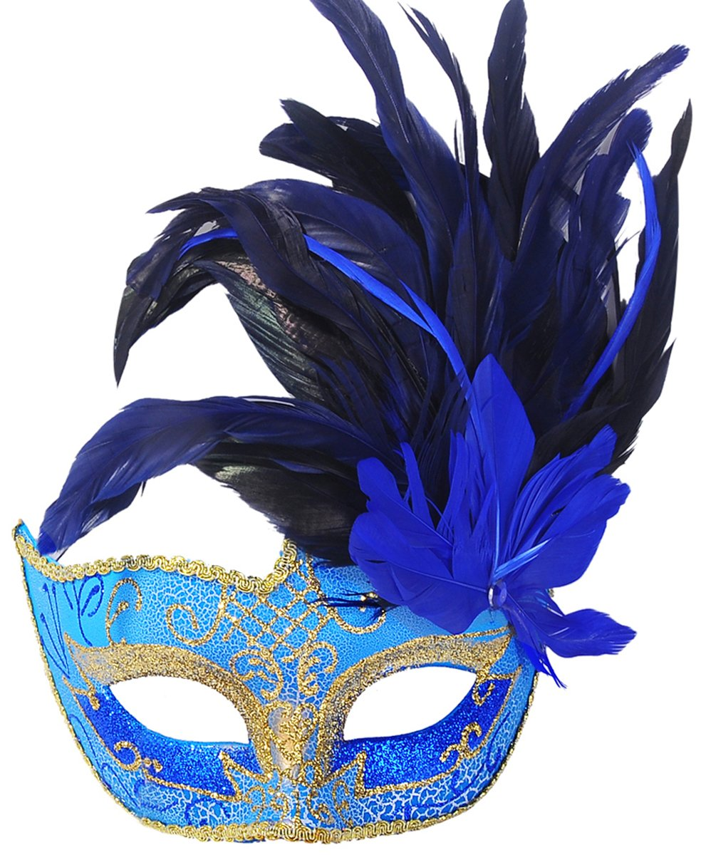 Coxeer Masquerade Mask Venetian Halloween Costume Mask with Feather T102667-151-1543112
