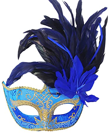 678d45c751 Buy Coxeer Feather Masquerade Mask Halloween Mardi Gras Costume Cosplay One  Size Blue Aa Online at Low Prices in India - Amazon.in