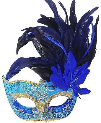 amazon com coxeer feather masquerade mask halloween mardi gras