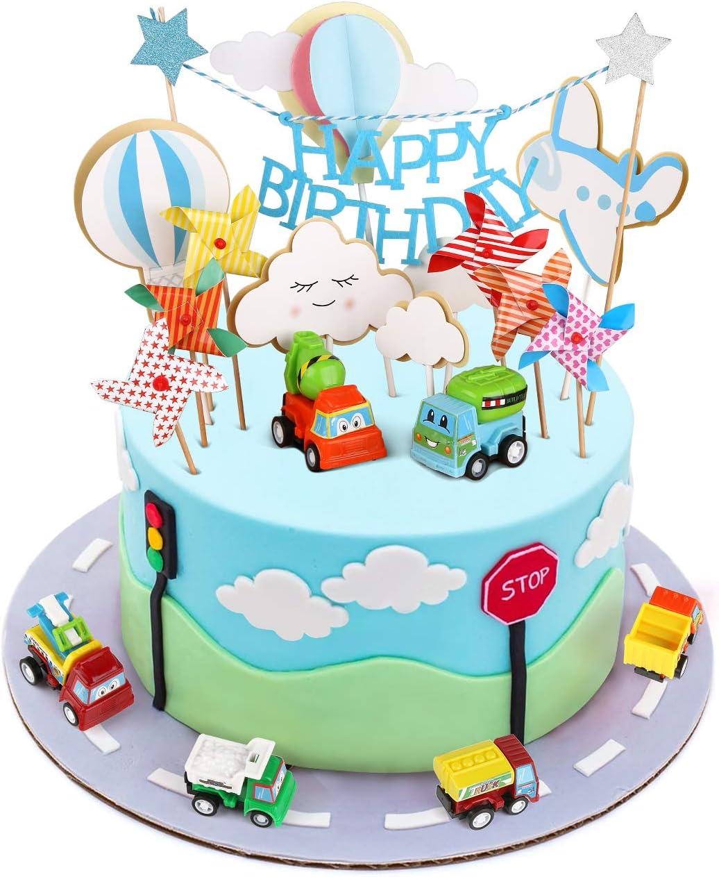 Enjoyable Toy Cars Cake Topper Joyoldelf Happy Birthday Cake Topper Car Funny Birthday Cards Online Alyptdamsfinfo