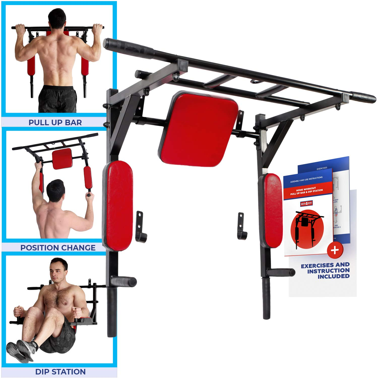 Wall Mounted Pull Up Bar and Dip Station with Vertical Knee Raise Station Indoor Home Exercise Equipment for Men Woman and Kids Great for Workout and Fitness (Red) by Kit4Fit (Image #1)